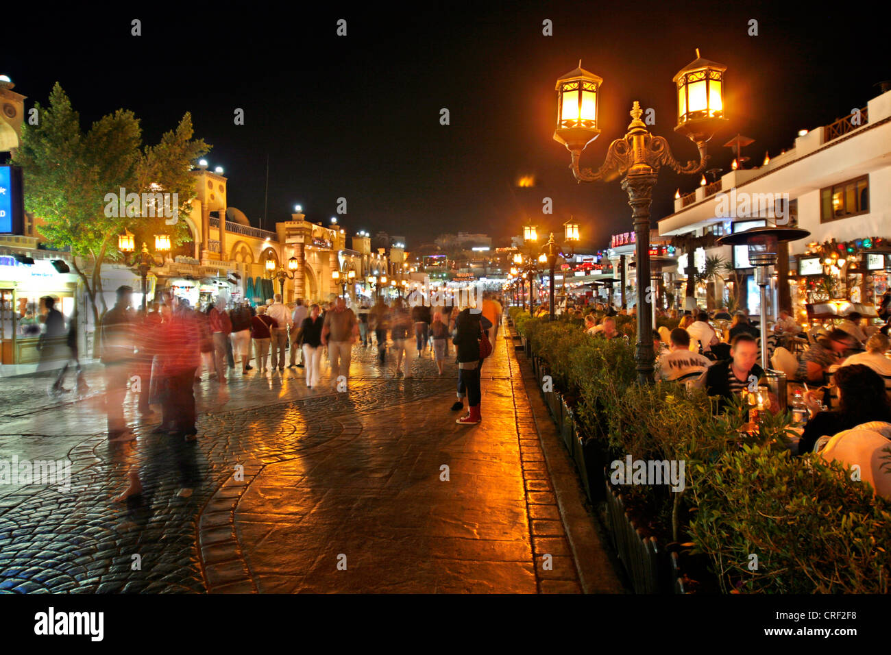 promenade at night, Egypt, Sinai, Sharm El Sheikh - Stock Image