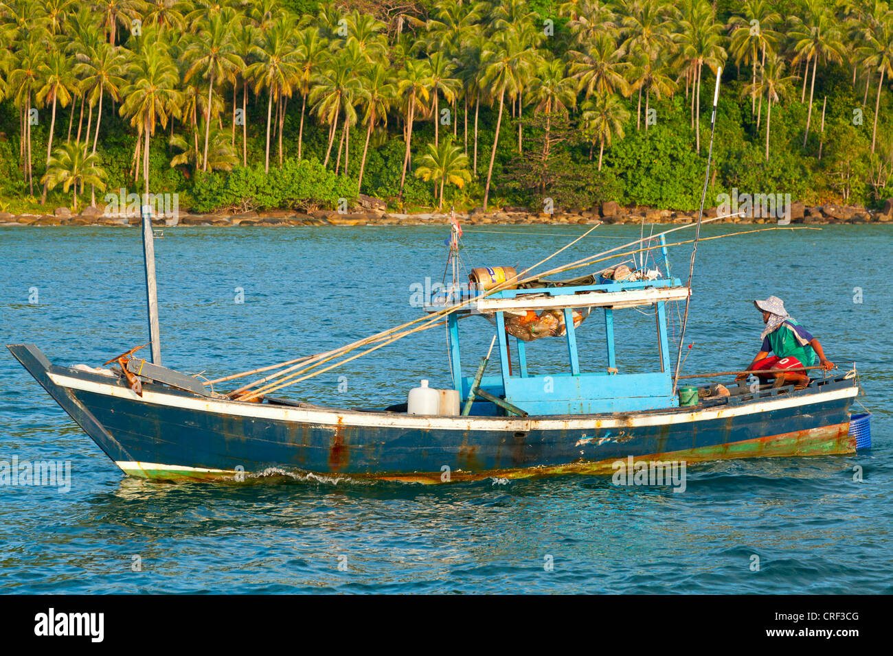 Fishing Off Of The Coast Of A Tropical Island Stock Image