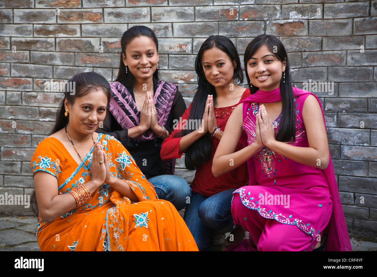 Beautiful Newari Women From Nepal Praying Nepal Kathmandu