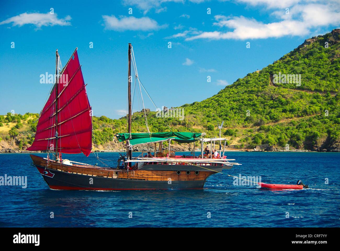 junk at St. Barth, Franzoesische Antillen, Caribbean Sea, Saint-Barthelemy - Stock Image