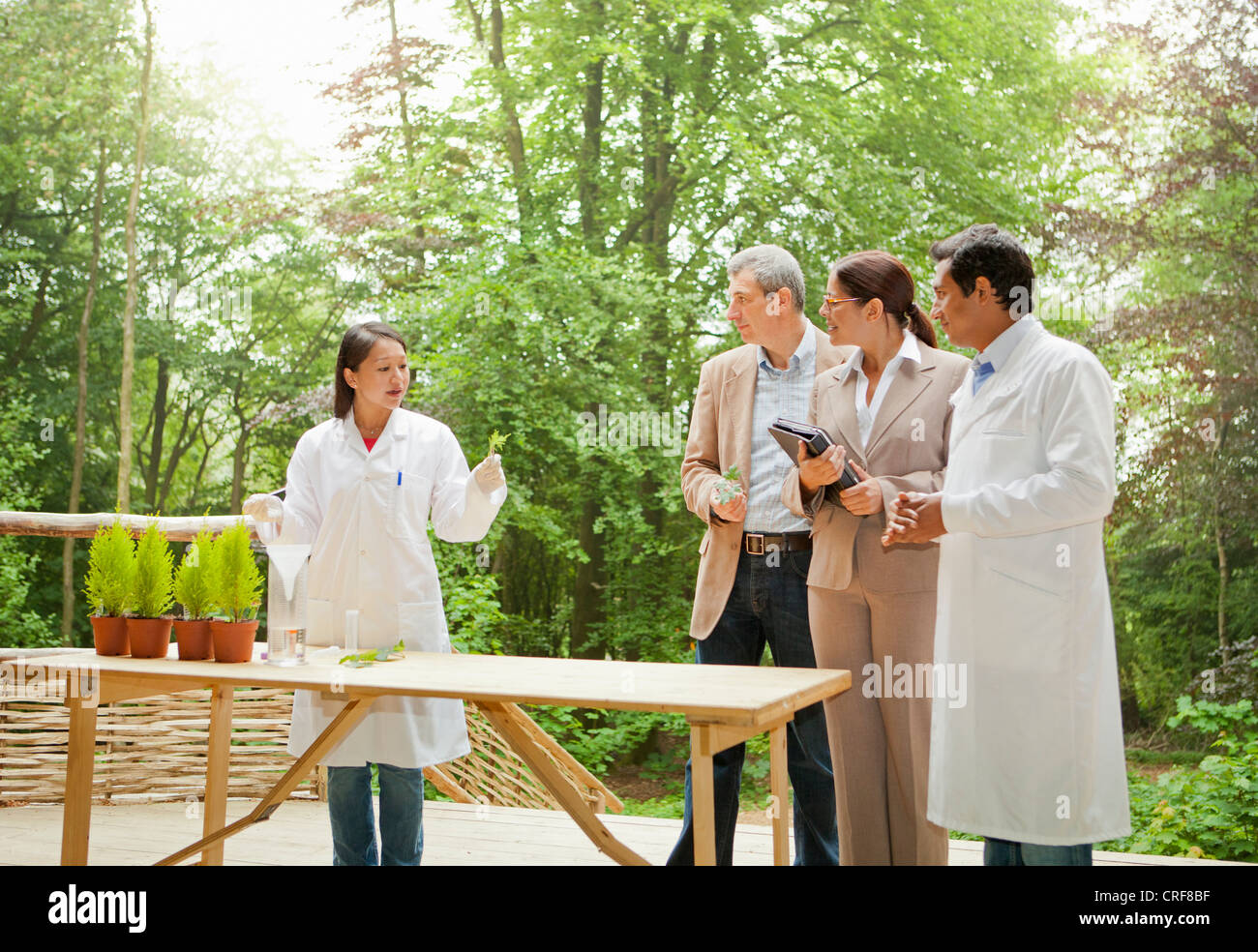 Business people talking with scientists - Stock Image