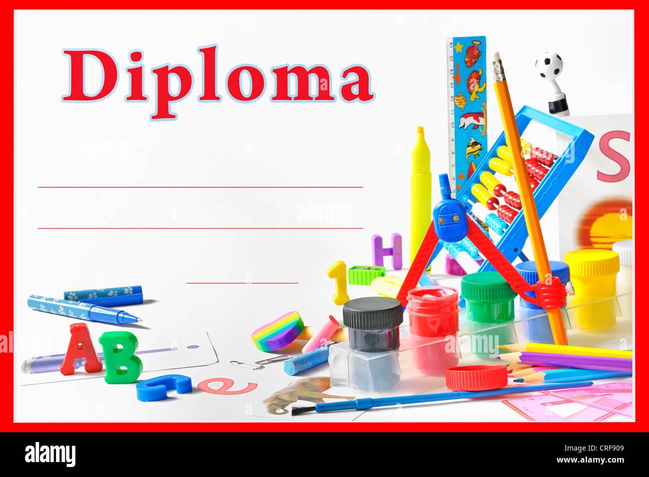 preschool diploma - Stock Image