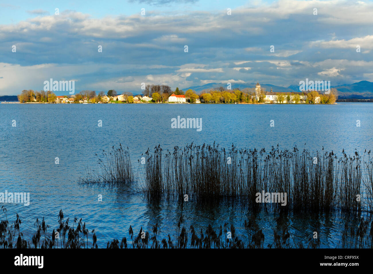 View across the the Chiemsee to the Fraueninsel,Chiemgau Upper Bavaria Germany Stock Photo