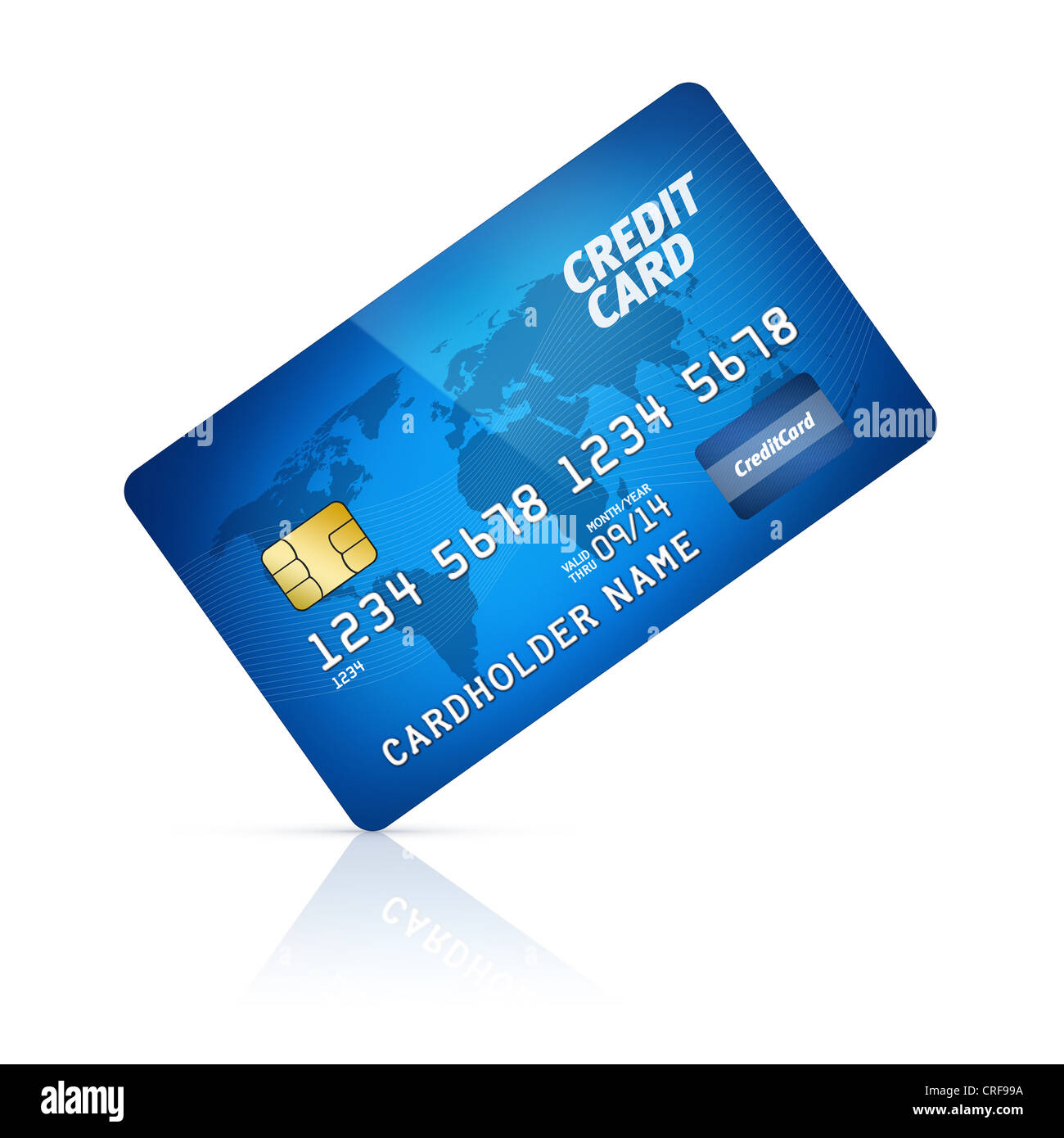high detail illustration of a plastic credit card isolated on white stock image - Plastic Credit Card