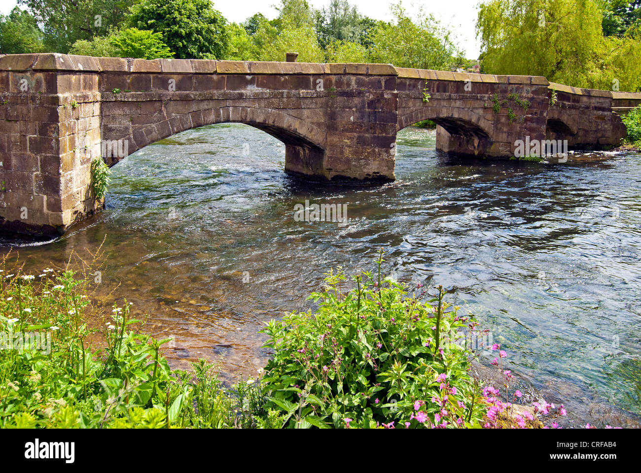 Holme Bridge, Bakewell, a packhorse bridge over the River Wye - Stock Image