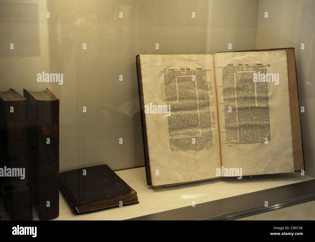 Talmud, the book containing the rabbinical discussions on Jewish law, traditions and customs. Jewish Museum Berlin. - Stock Image