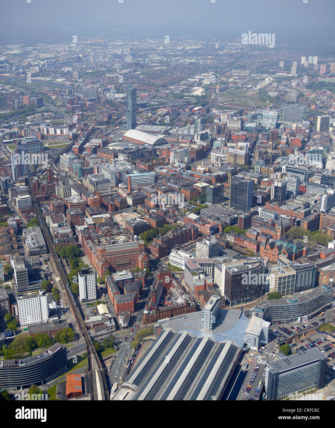 Manchester City Centre, from the air, North West England, Picadilly Station in the Foreground - Stock Image