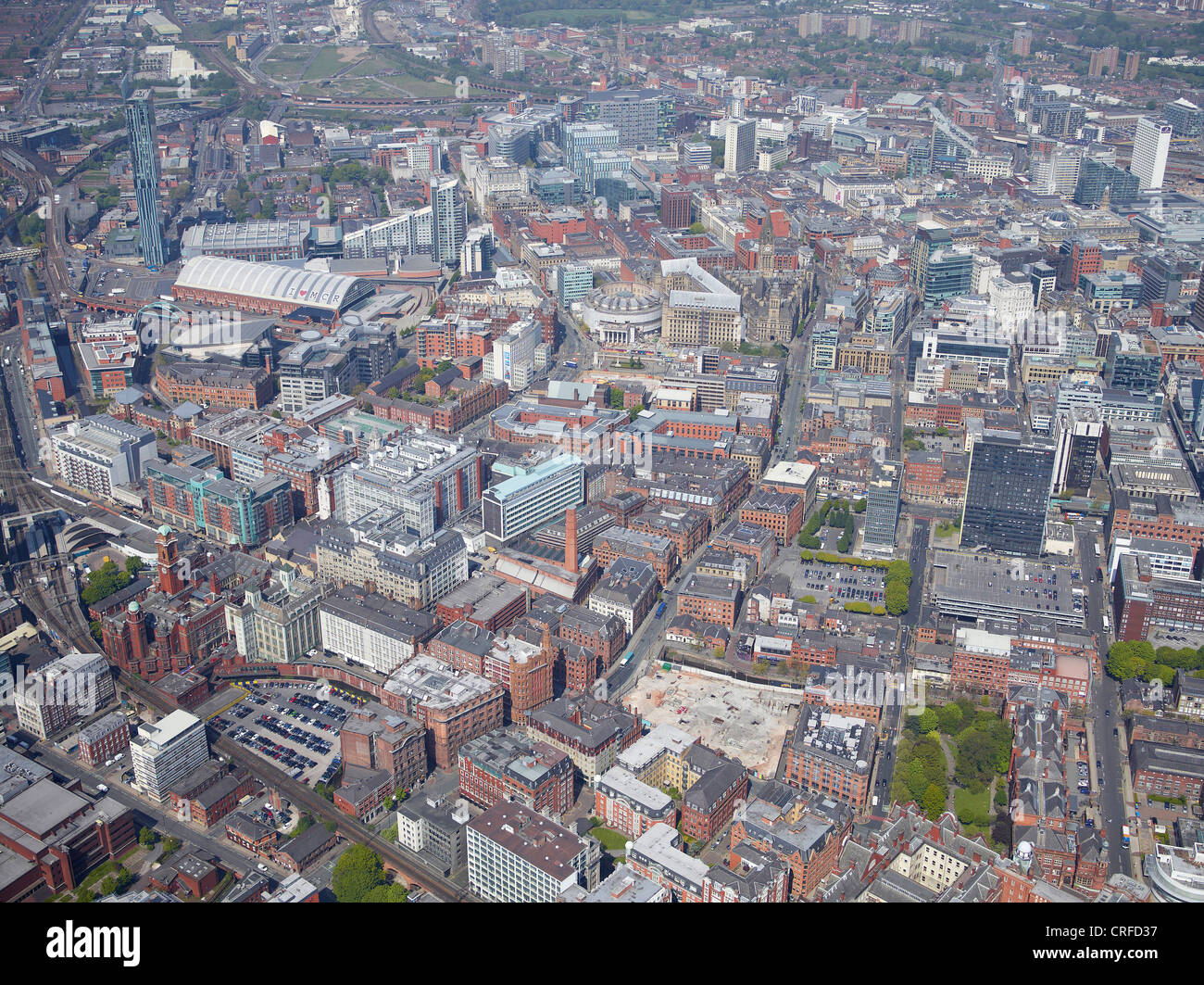 The West side of Manchester City Centre, from the air, North West England Stock Photo