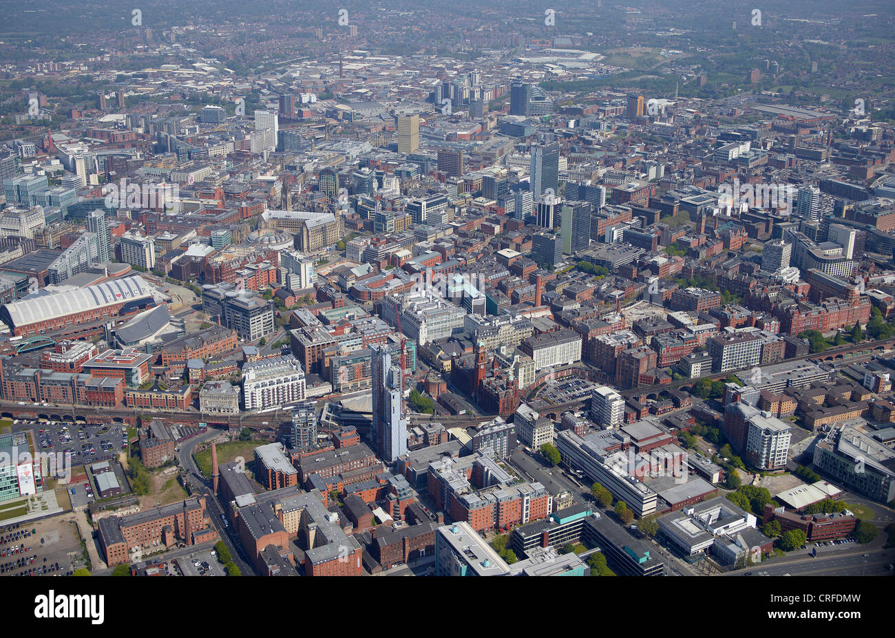 Manchester City Centre, from the air, North West England Stock Photo