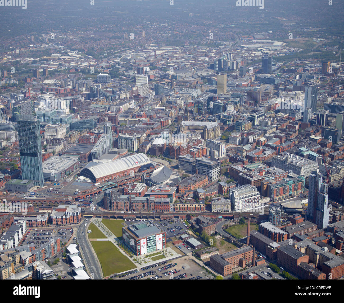 Manchester City Centre, from the air, North West England, Beetham Tower and The Exchange in the foreground Stock Photo