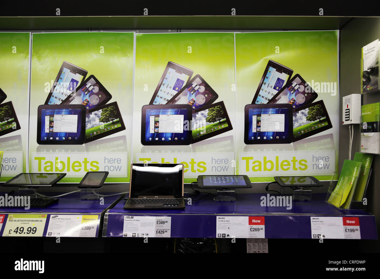 Computer Tablets On Display For Sale At Staples England - Stock Image