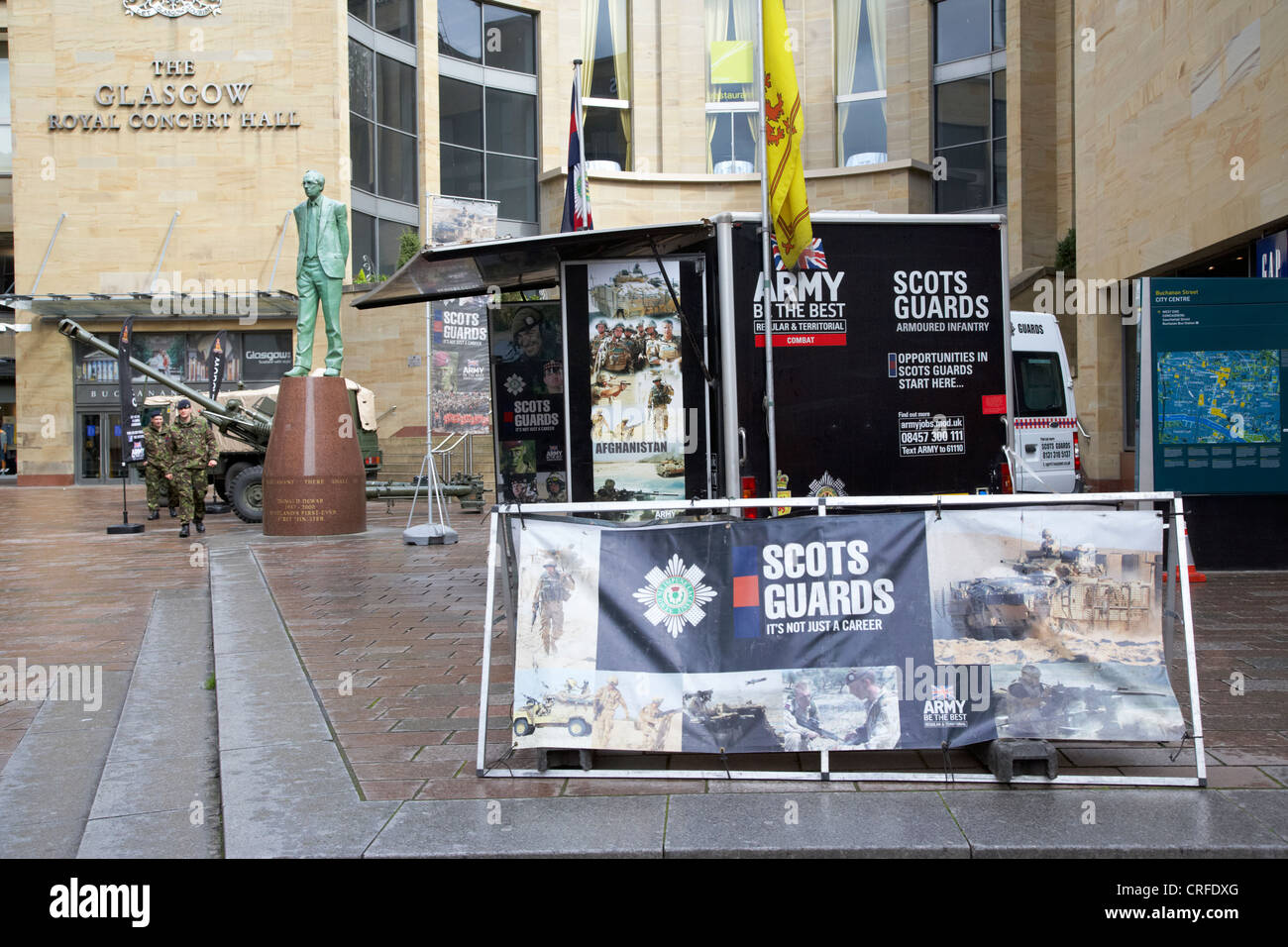 scots guards british army recruitment stand glasgow city centre scotland uk - Stock Image