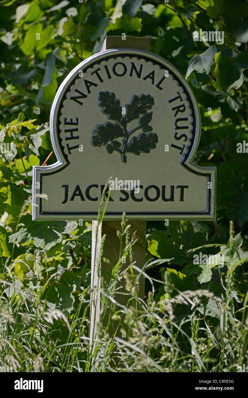 'Jack Scout'  National Trust sign. Silverdale, Lancashire, England, United Kingdom, Europe. - Stock Image
