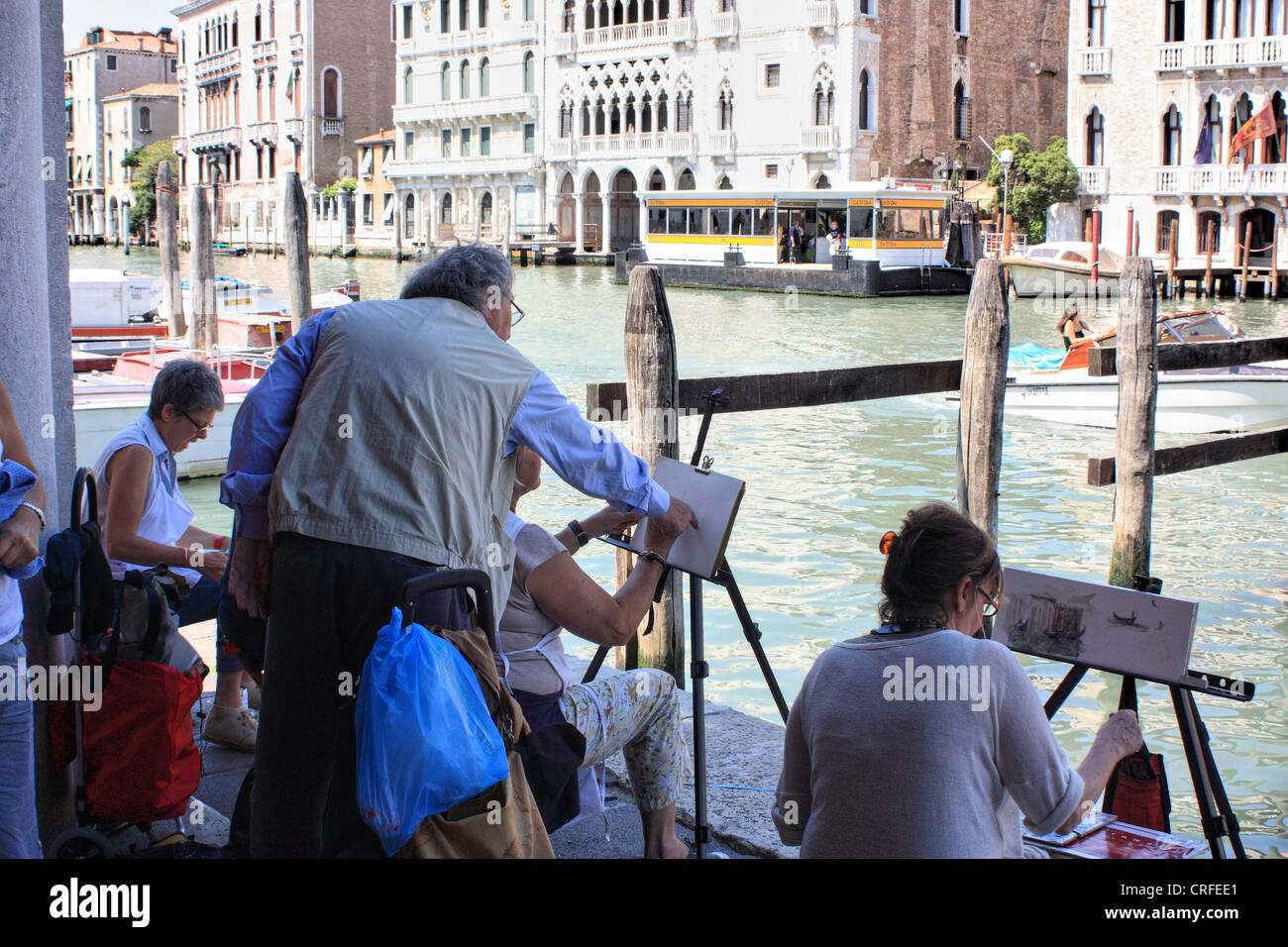 Painting classes in Venice - Stock Image