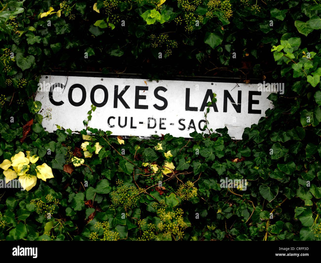 Cul-De-Sac Sign Cookes Lane England - Stock Image