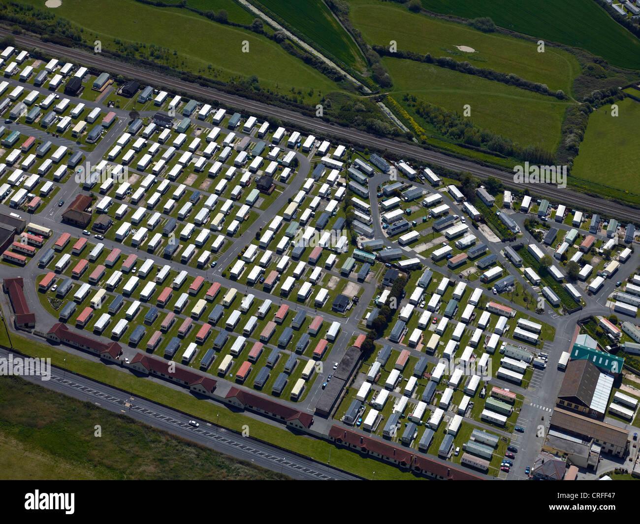 Holiday Caravans at Prestatyn, North Wales, UK, from the air - Stock Image