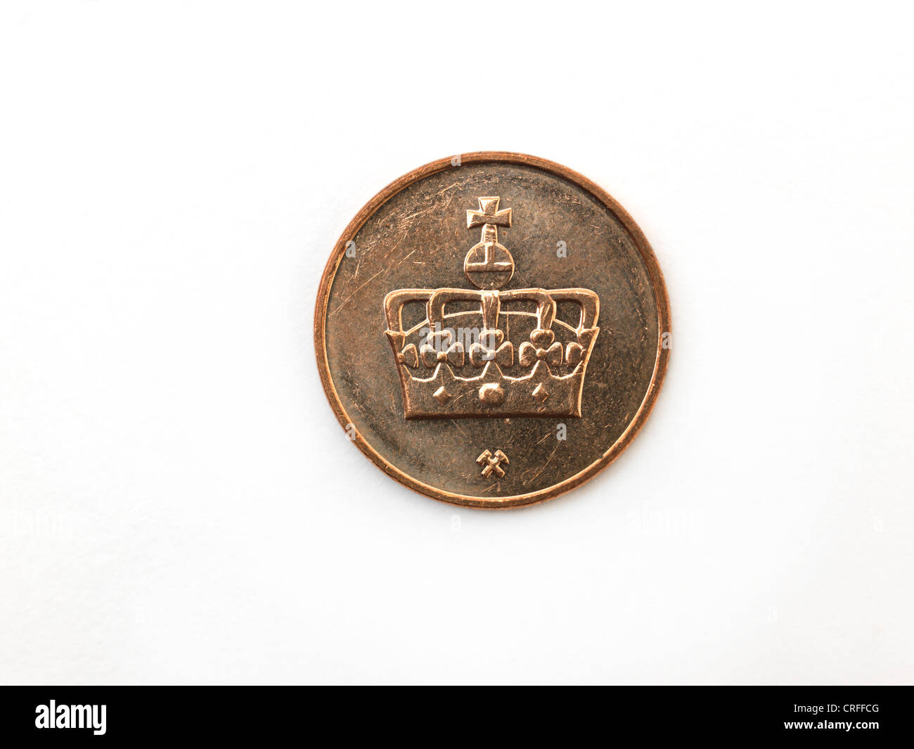 Norwegian Coin 50 Ore Depicting Crown Of Harald V - Stock Image