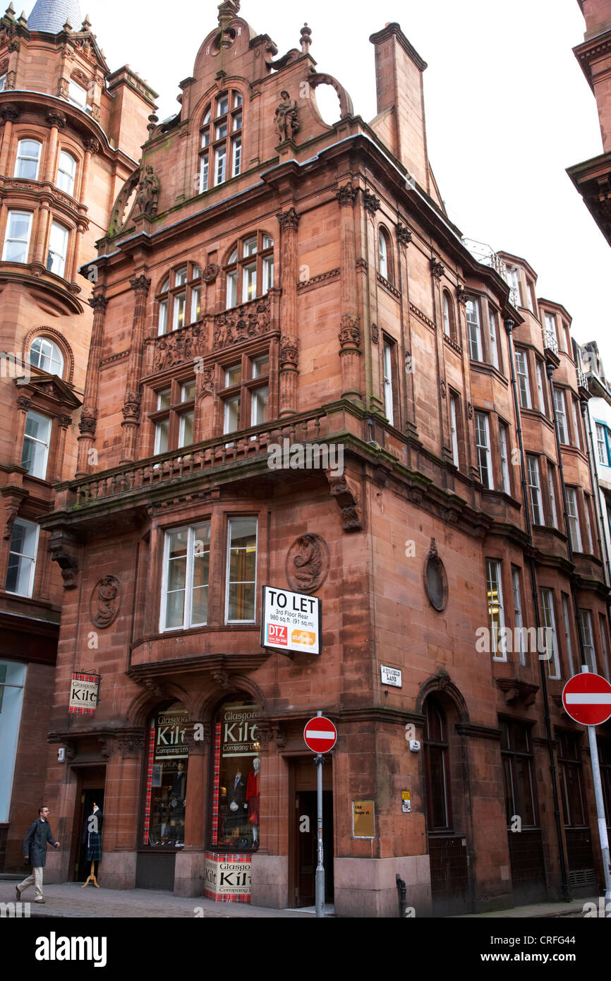 red sandstone building designed by salmon and gillespie 106 hope street and renfield lane glasgow scotland uk - Stock Image
