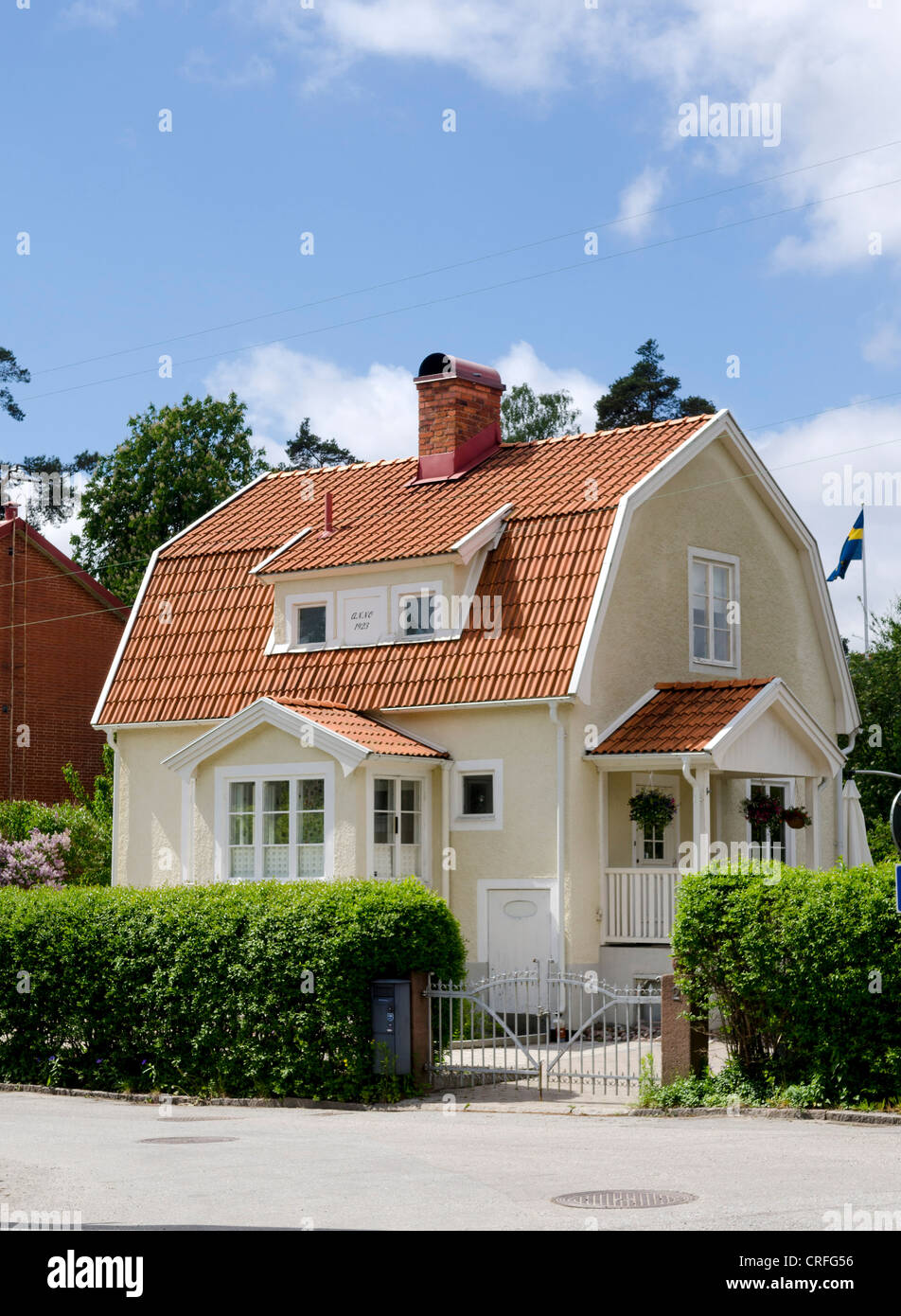 Typical detached house in suburbs of Stockholm, Sweden Stock Photo