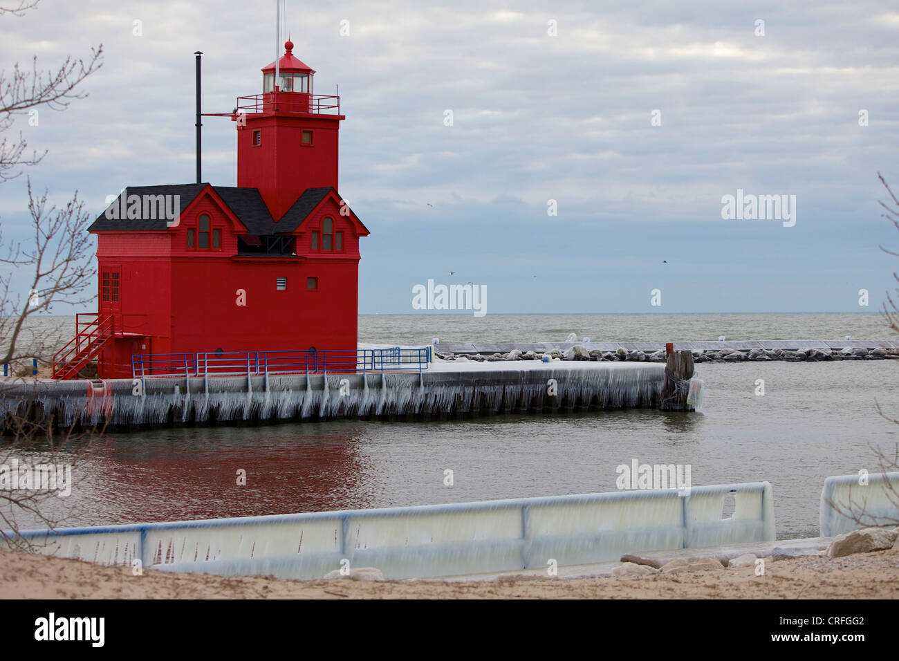 """""""Big Red"""" lighthouse in Holland, Michigan in the winter Stock Photo"""
