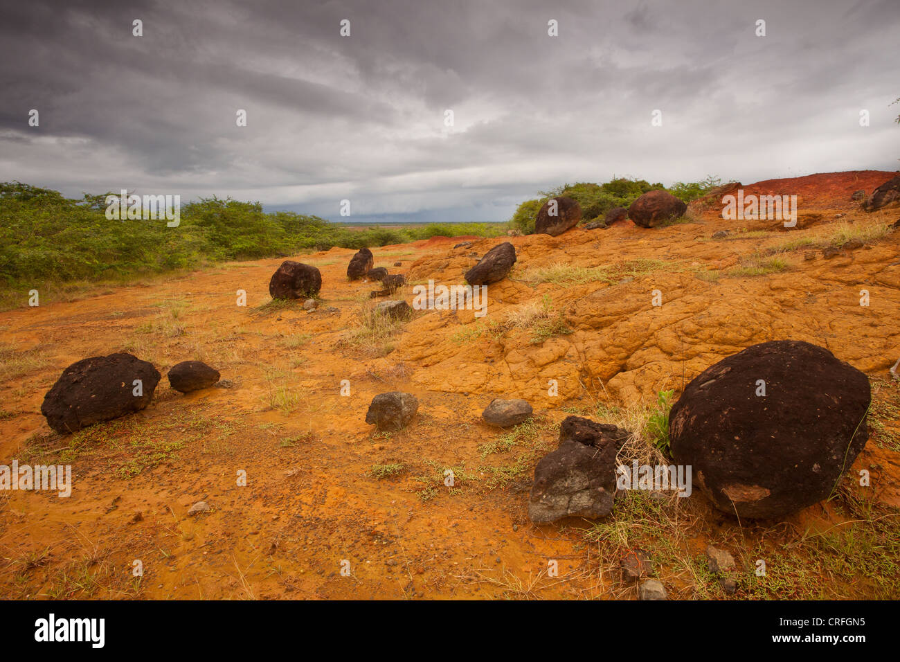 Volcanic rocks and eroded ground in Sarigua national park, Herrera province, Republic of Panama. - Stock Image