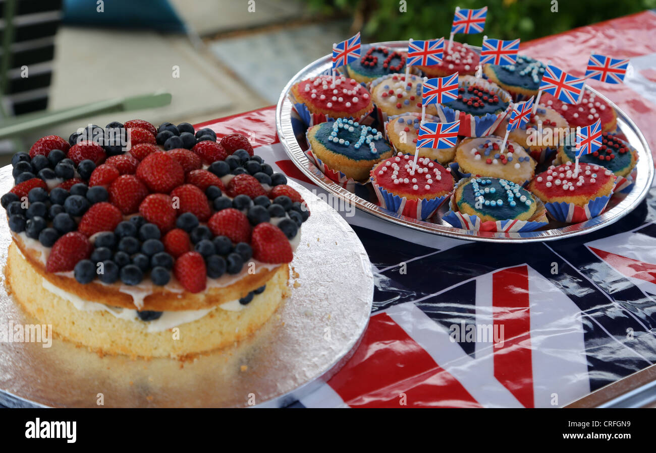 Cakes Made For The Queen's Diamond Jubilee At Street Party Surrey England - Stock Image
