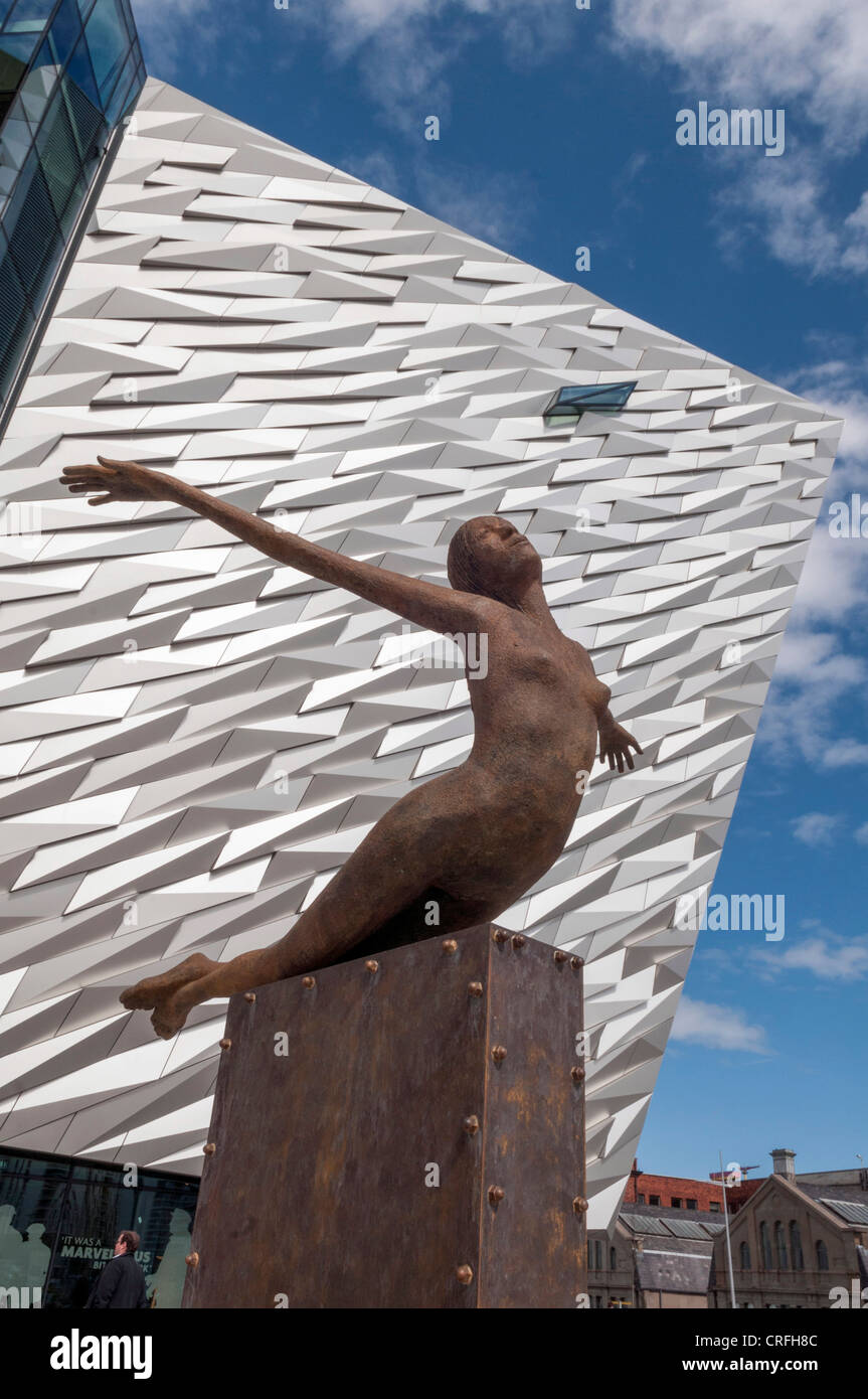 Titanica sculpture in front of Titanic Centre Belfast - Stock Image