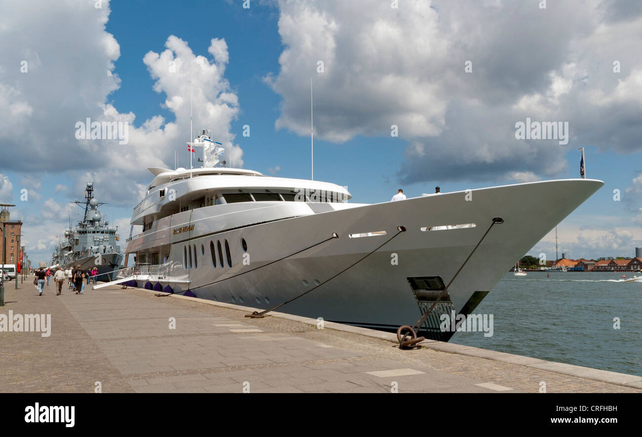 Mega luxury yacht moored at Copenhagen harbour, Denmark, Europe - Stock Image