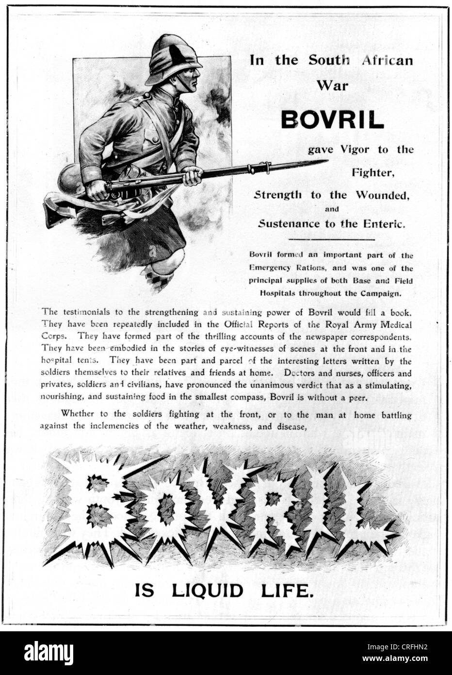BOVRIL advert about 1899 referencing the Boer War - Stock Image