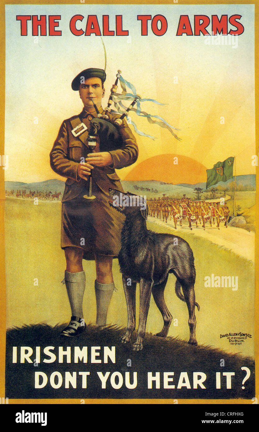 IRISH RECRUITING POSTER  published by HMSO in July 1916 with Irish Wolfhound Stock Photo