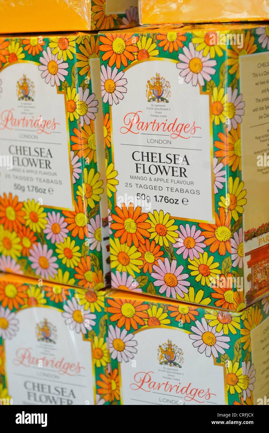 Boxes of Partridges Chelsea Flower Teabags, Partridges Shop, London - Stock Image