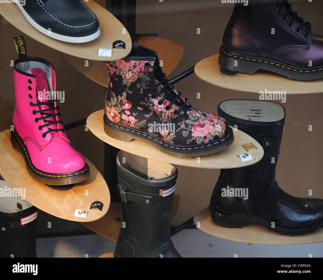 Surrey England Sutton High Street Close Up Of Shoes And Boots In Sole Trader - Stock Image