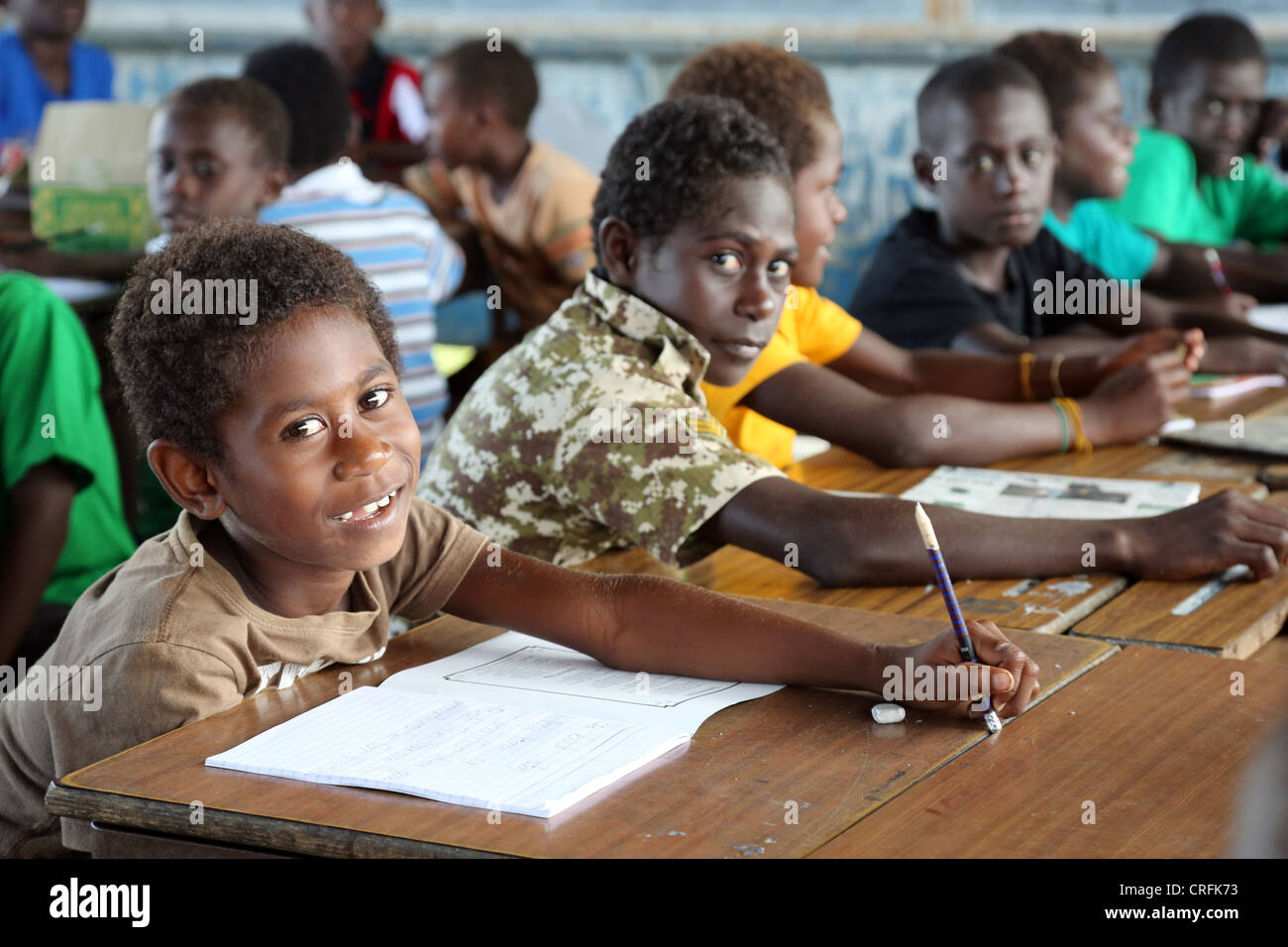 boys in a classroom of a primary school in Buka, Bougainville Island, Papua Neuguinea - Stock Image