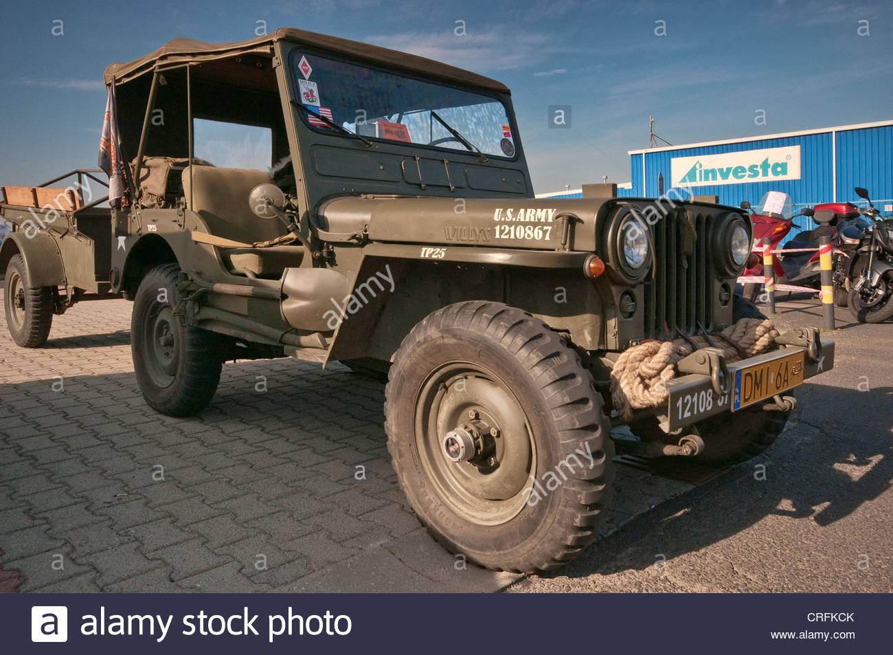 WW2 Willys MB jeep, Oldtimer Bazar fair in Wroclaw, Lower Silesia, Poland - Stock Image