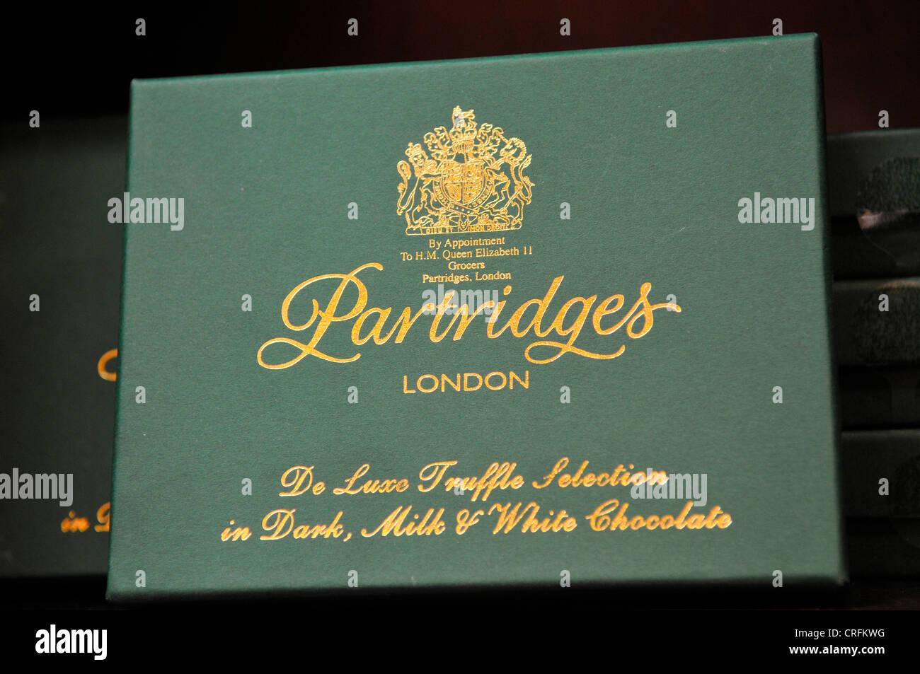 Box of Chocolates at Partridges Shop, Chelsea, London - Stock Image