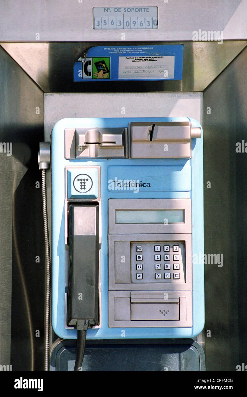 Spain payphone, - Stock Image