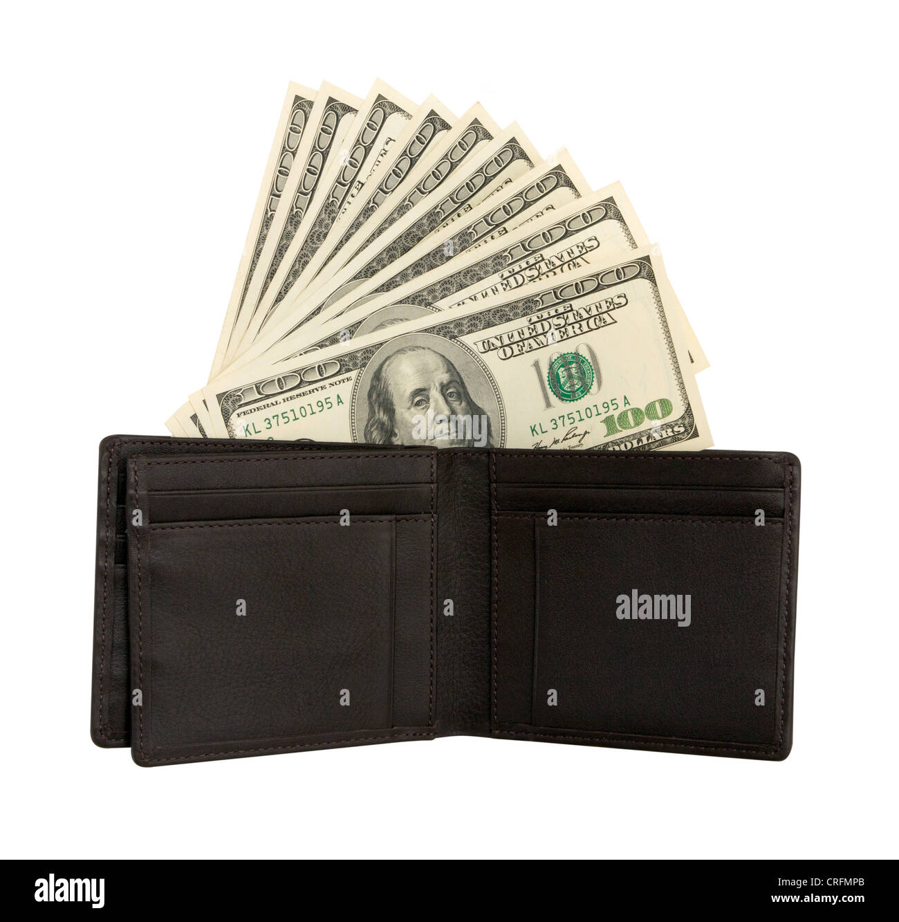Dollar bills U.S. in wallet isolated on white background - Stock Image