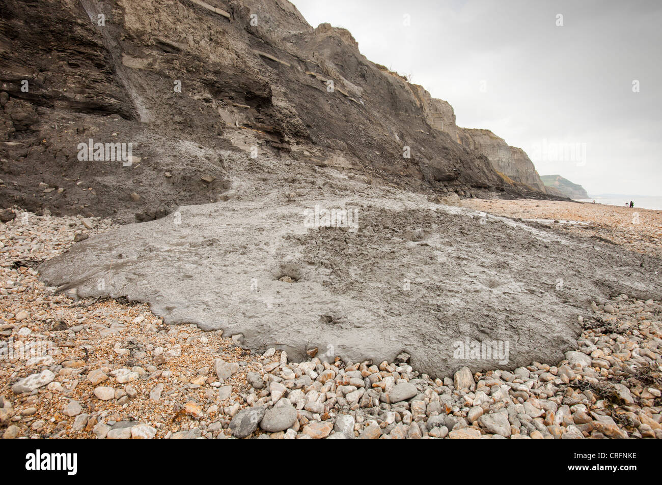A landslip at Charmouth. This section of the Jurassic Coast has always been prone to landslips - Stock Image