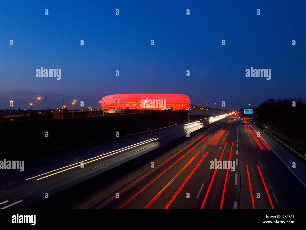 Time lapse view of Autobahn traffic Stock Photo