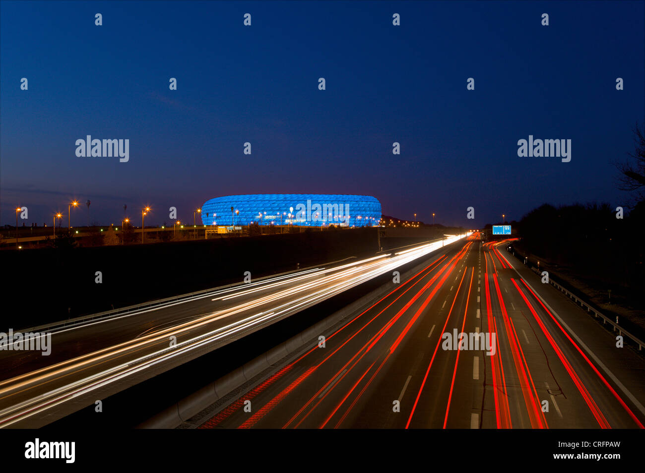 Time lapse view of Autobahn traffic - Stock Image