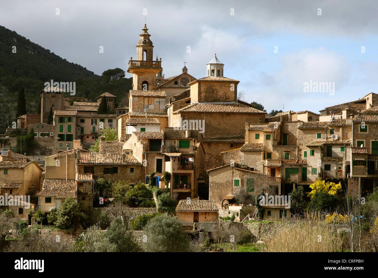 view onto Valldemossa, Spain, Balearen, Majorca - Stock Image