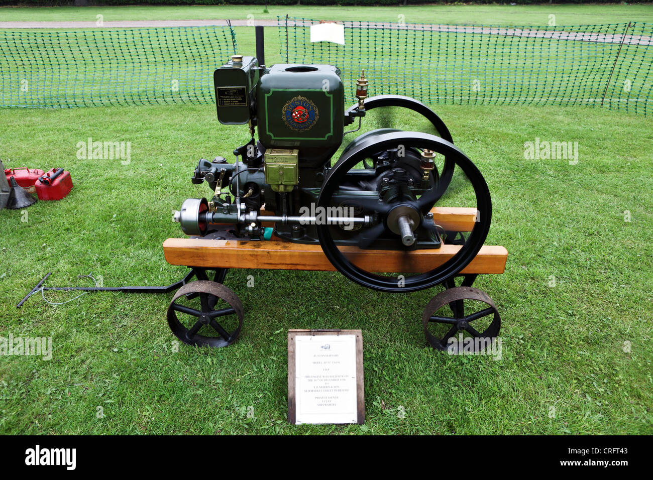 An 1936 RUSTON HORNSBY 4 Horsepower engine, viewed whilst on public display at Acton Burnell, Diamond Jubilee Celebrations. - Stock Image
