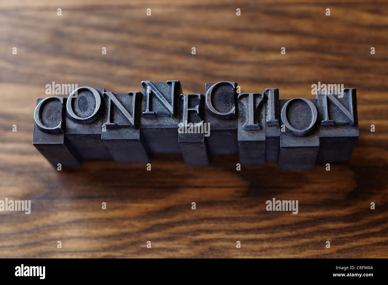 Lead type spelling 'connection' - Stock Image