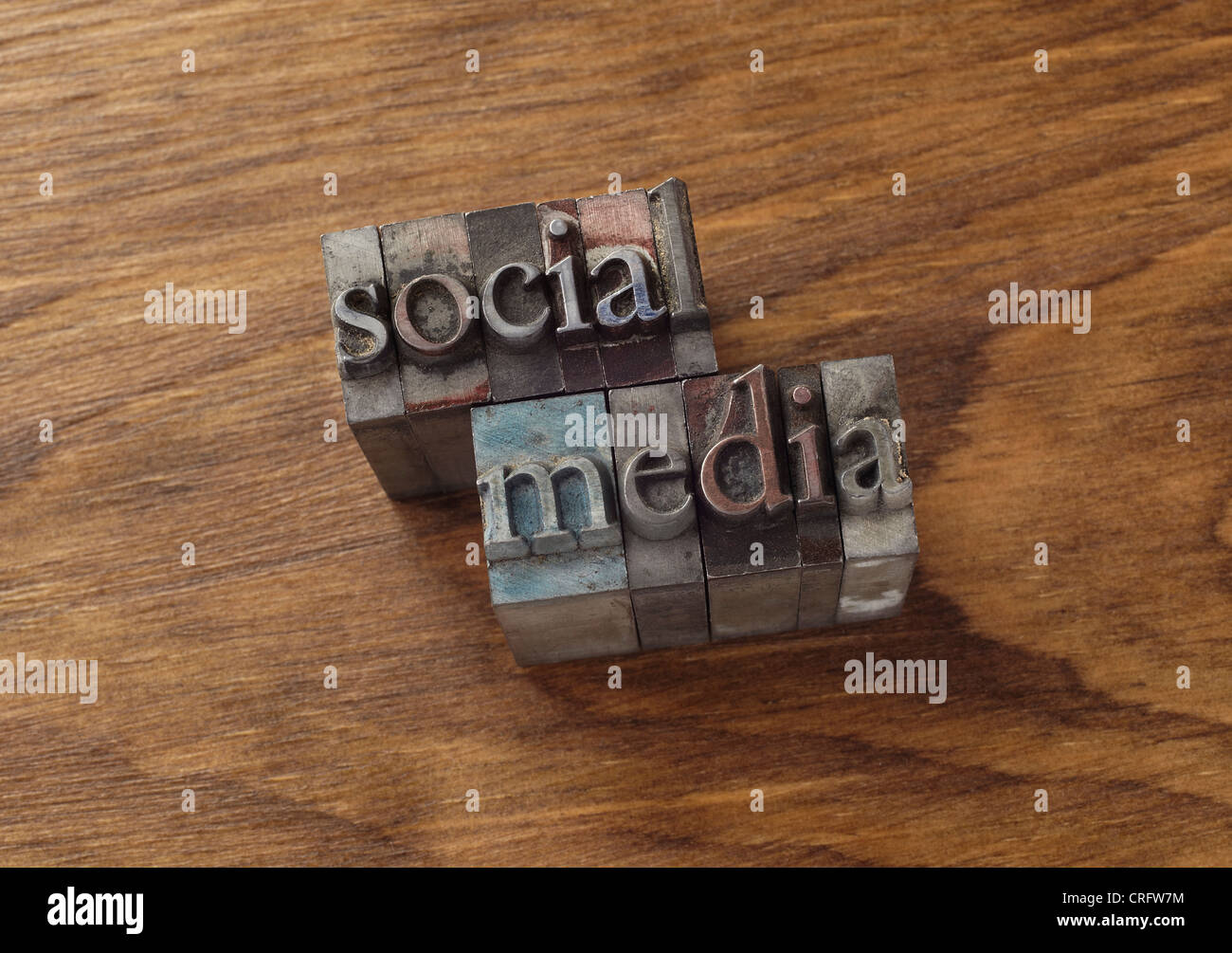 Lead type spelling 'social media' - Stock Image