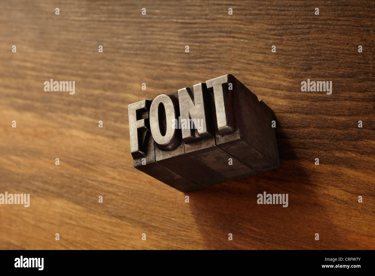 Lead type spelling 'font' - Stock Image