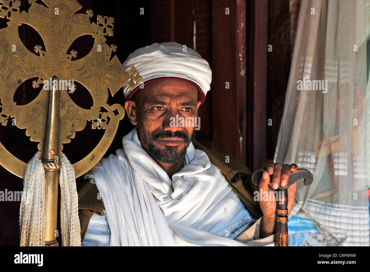 priest, Ethiopia, Lalibela - Stock Image