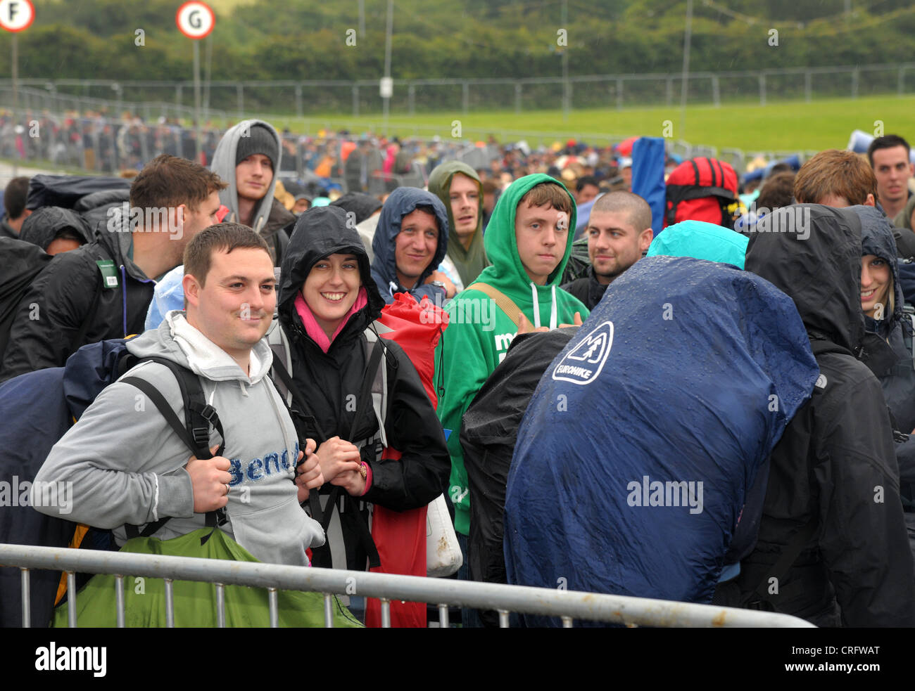 Isle of Wight, England, June 21 2012. Heavy rain and traffic congestion brings chaos to the Isle of Wight festival Stock Photo