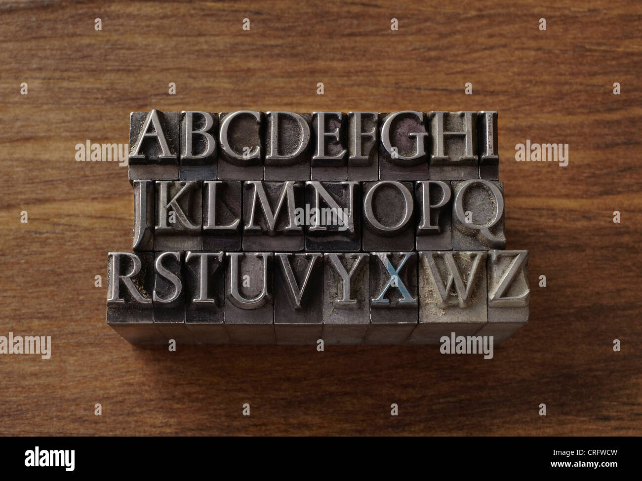 Lead type in alphabet letters - Stock Image