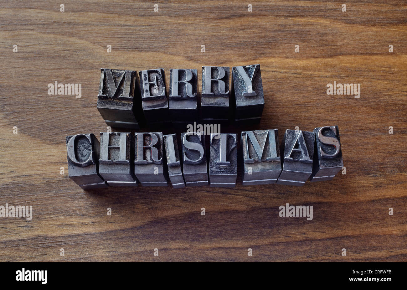 Lead type spelling 'Merry Christmas' - Stock Image