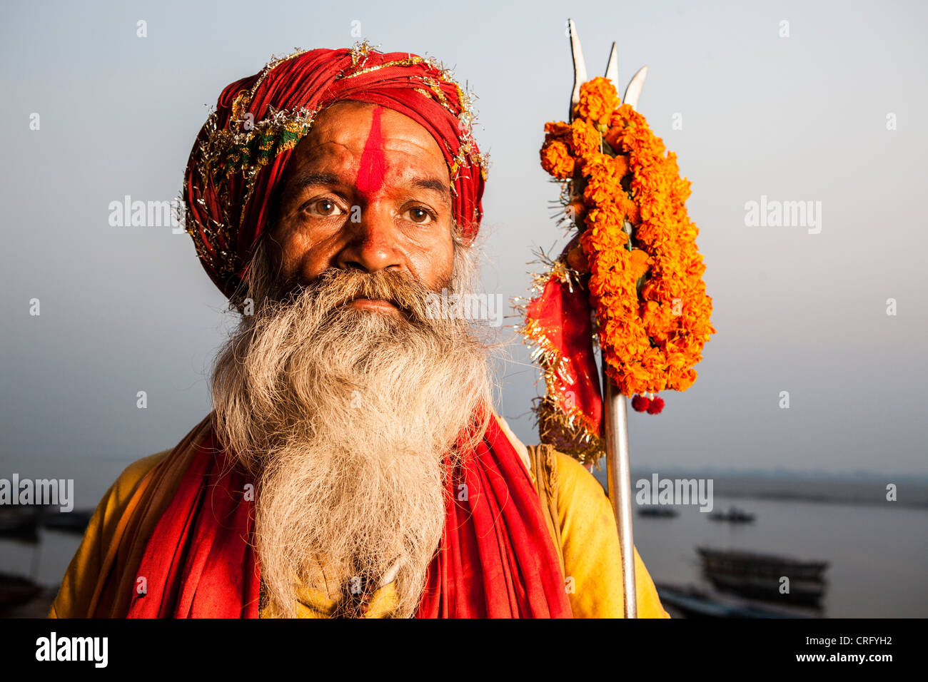 Portrait of Sadhu (holy man), in Varanasi, Uttar Pradesh, India - Stock Image